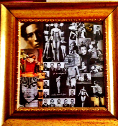 "PICTURE 7: ONLY 1 AVAILABLE! CUSTOM MADE ARTWORK CREATED BY SHE, 17"" x 17"" W/ GOLD COLORED FRAME"