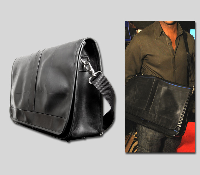 Messenger Bag - Available in black leather trim, 17'' wide x 11'' high x 5'' deep