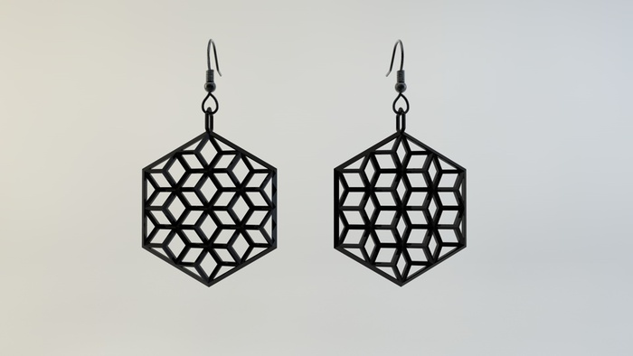3D Render of the H.O.W. earrings (1.5 inch) in black