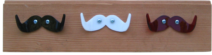 small coat rack (shown with black, white, and red hookstaches) measures approx. 14 inches long. Width and depth vary. Comes with hooks pre-installed in your color choices, and pre-drilled holes and screws for hanging on your wall.