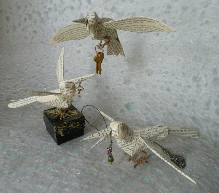 hummingbirds made from pages of The Scarlet Letter
