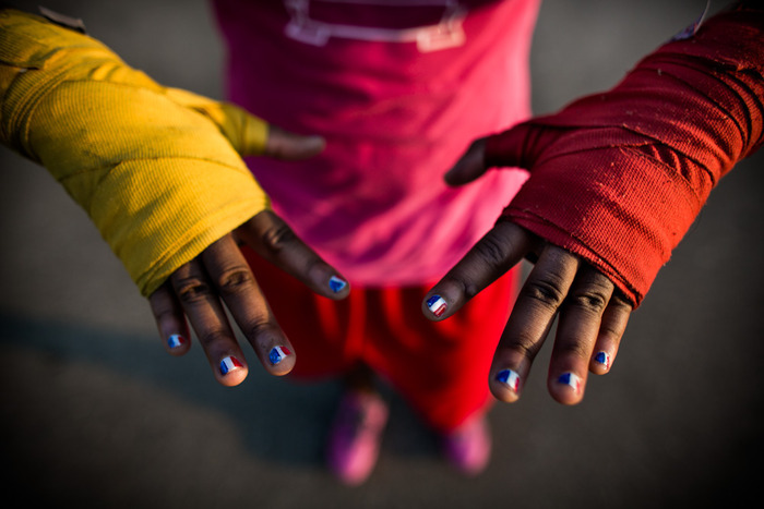 "The hands of 17 year-old Claressa ""T-Rex"" Shields, the youngest woman to ever box in the Olympics."