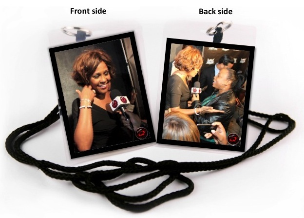 Exclusive Whitney Houston Laminated Lanyard - Whitney's last red carpet appearance where she only stopped for Studio Q - Feb 9, 2012