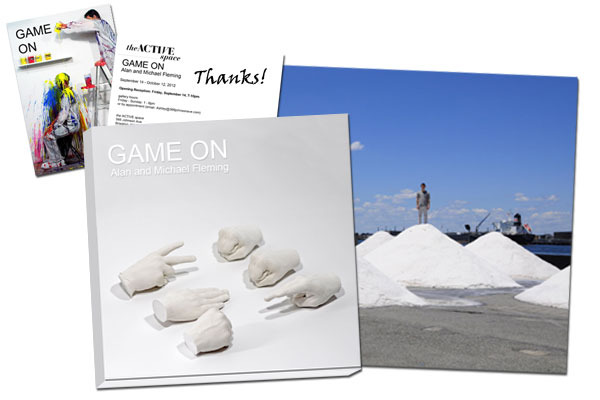 "Softcover copy of the GAME ON Exhibition Catalog and an 8 x 10 photograph from our most recent performance ""Salt Mounds"" and a signed thank you Postcard mailed to your home."