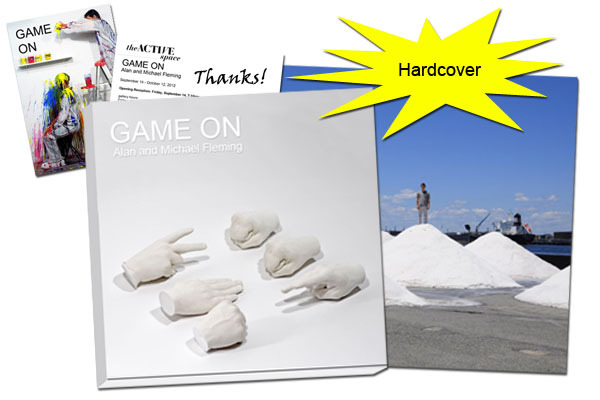 "Hardcover copy of the GAME ON Exhibition Catalog and an 8 x 10 photograph from our most recent performance ""Salt Mounds"" and a signed thank you Postcard mailed to your home."