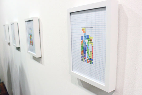 "ORIGINAL ARTWORK: 8 x 10 framed drawing from the ""Game Over (Tetris Drawing Series)"" (limited edition) and a signed Hardcover copy of the GAME ON Exhibition Catalog and a signed thank you Postcard mailed to your home."