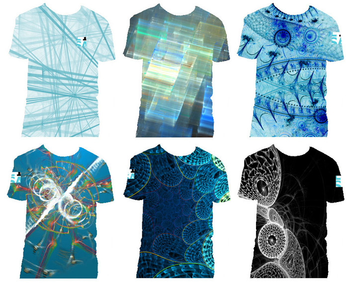 All-over print tees by Scott Draves and the Electric Sheep