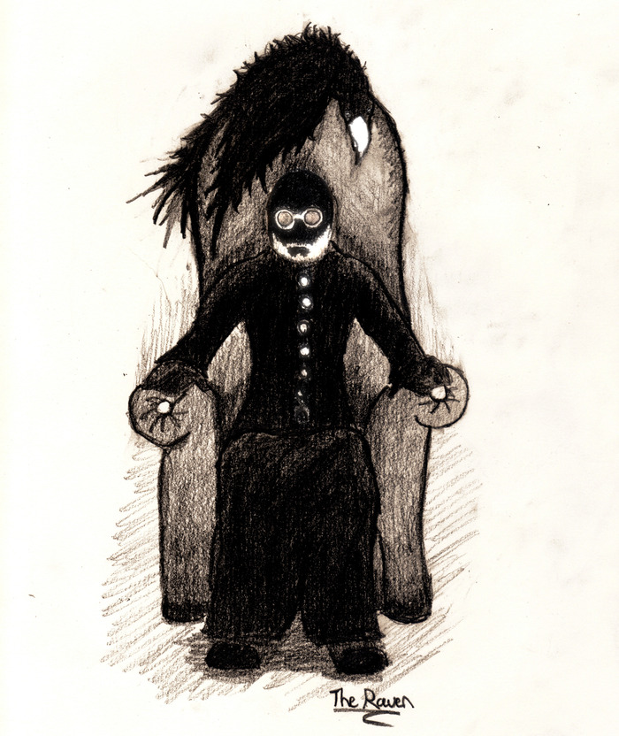 Our character, with the Raven looming just over his head...a beautiful example of the look and style of the film...