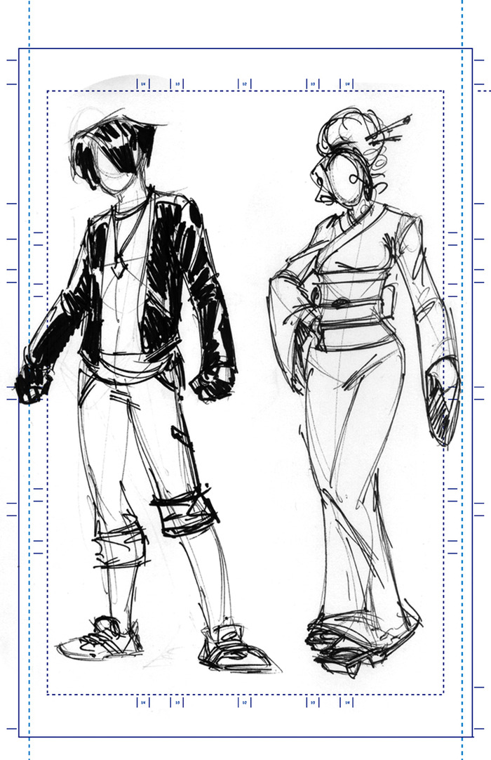 Mau's sketches of Kainoa's and Ravage's attire in DF#2
