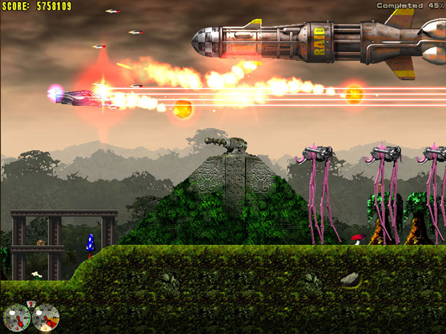 JETS'N'GUNS:  Enjoy this insane action adventure of saving the universe from deadly threat of total destruction! Fight your way through more than 40 levels!