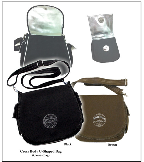 "Reward #3: 9-1/2""x10"" Cross-Body U-Shape bag is chic for all ages.  Heavy-duty 100% cotton canvas.  Inside front and exterior flaps have reflective silver lining to match piping, hardware, and logo.  Frayed edges; web cross-body strap; fully lined."