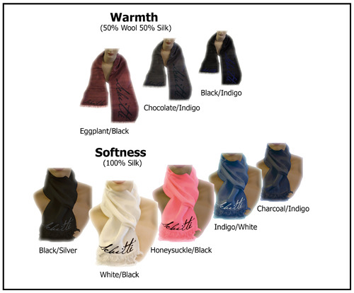 """Reward #1: Signature Scarves: 100% Silk--8""""x54"""" or  50% Wool/50% Silk--10""""x64"""".  All scarves have hand-rolled side edges and frayed ends."""