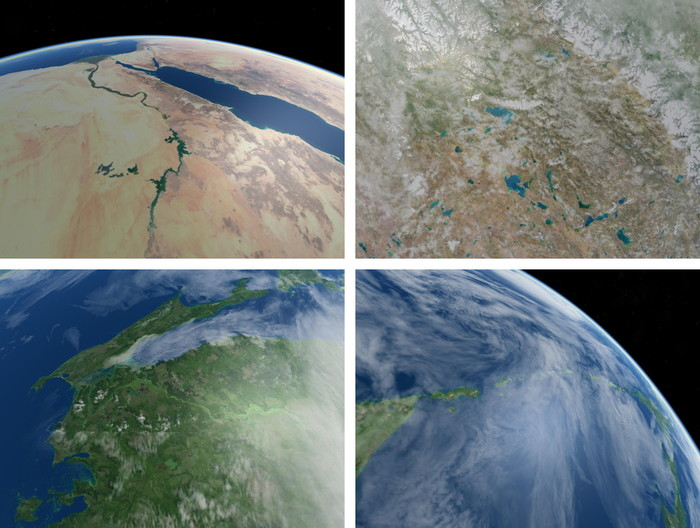 Exact simulations of the kinds of Earth images that SkyCube can capture for you. CLICK HERE for a larger version of this montage.