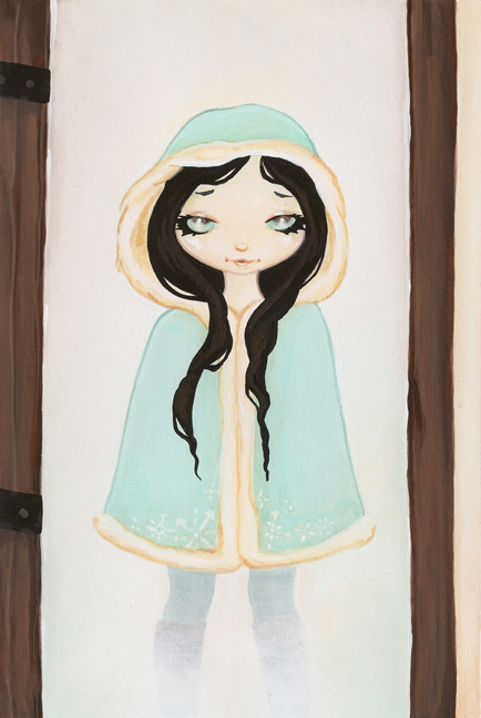 Aneira the Daughter of Frost as a child at the Woodcutters Cottage door