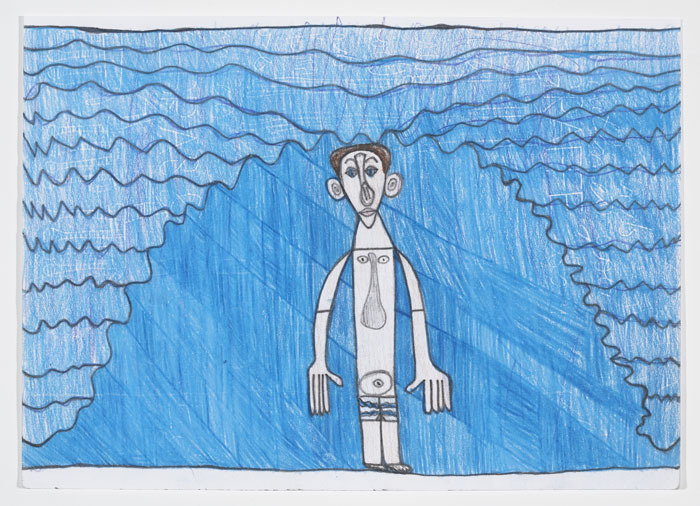 Dietrich in the Waves in the Ocean, 2006. Color pencil on paper by Dietrich Sieling