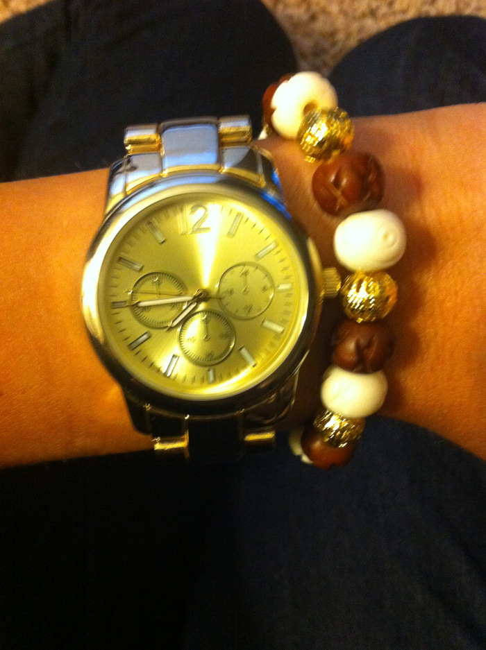 White Brown and Gold - Wear it with your FAVORITE watch!