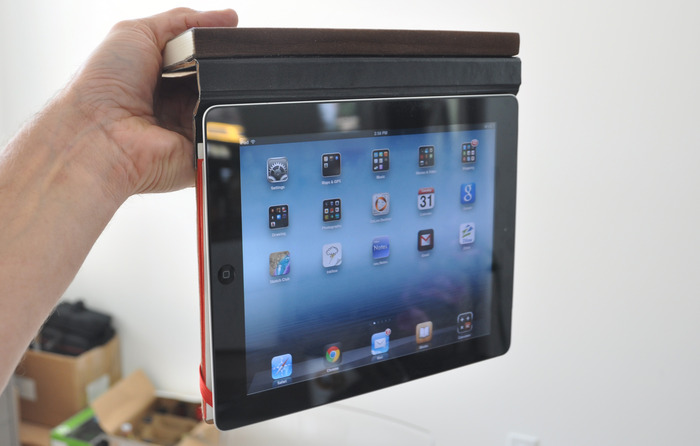 Magnets hold the iPad (newer generations only) inside the back cover