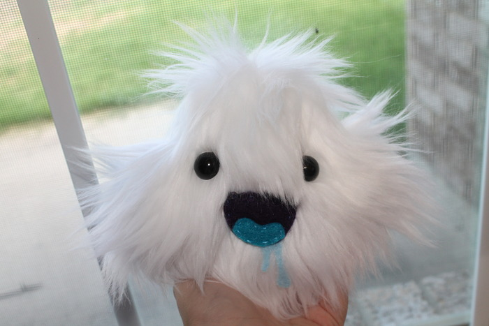 "A 5 inch monster plush example! This is a ""baby cloud monster"".  $65-75 reward tier.  Choose a surprise monster or have one custom made for you! Plus the extras!"
