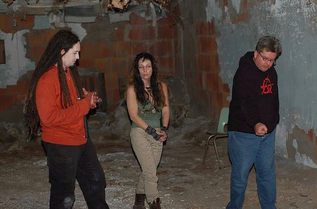 Stunt coordinator Sean-Michael Argo, actress Tara Cardinal and director David Williams discuss the next scene