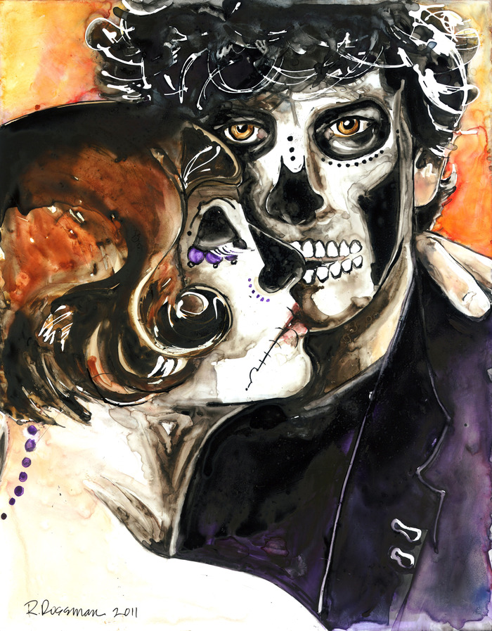 Amanda Palmer and Neil Gaiman, from my Dia de Los Muertos portrait series