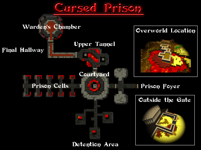 A top-down overview of the upcoming Cursed Prison zone.