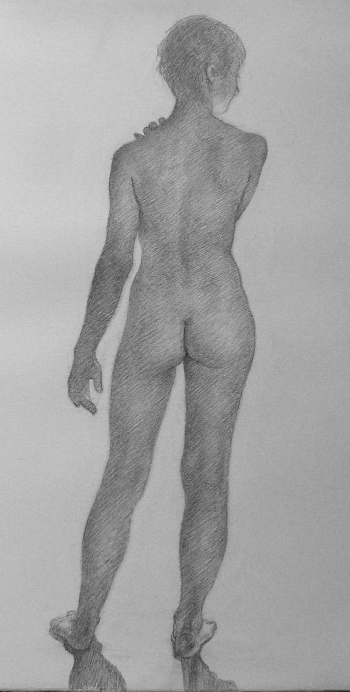 Newberry, Woman Study, 2012, graphite on Rives BFK, 22 x 16 inches.