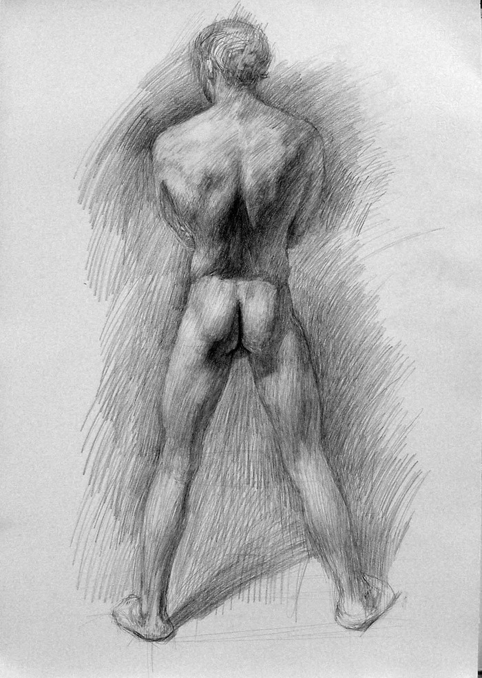 Newberry, Man Study, 2012, graphite on Rives BFK, 22 x 16 inches