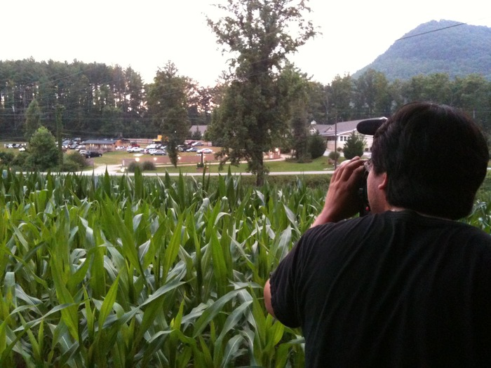 Kevin shoots the Tiger Drive-in thru a corn field the night they screened Deliverance.