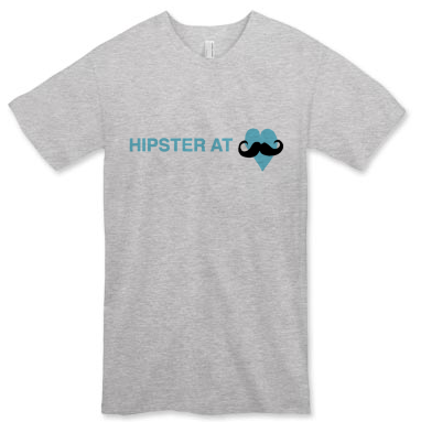 Hipster at Heart Men's T-shirt (available in white or gray)