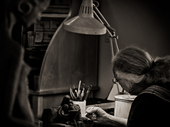 """The Muse"" [Manuelita in her studio]; photograph by Francine Filsinger"