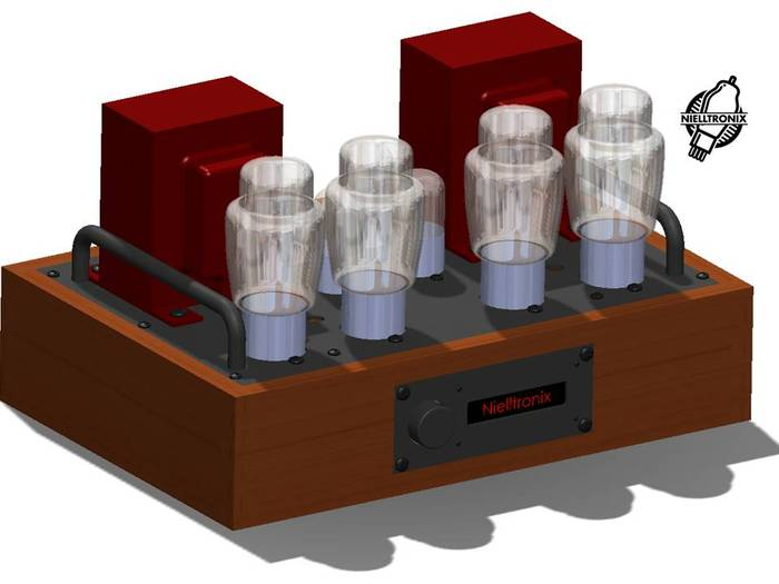 SolidWorks rendering of the wood chassis amplifier