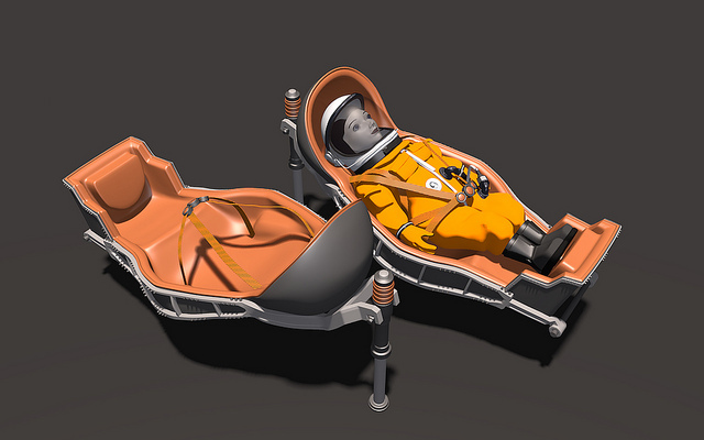 """Childseat"" variant of Kazbek acceleration couch for Soyuz"