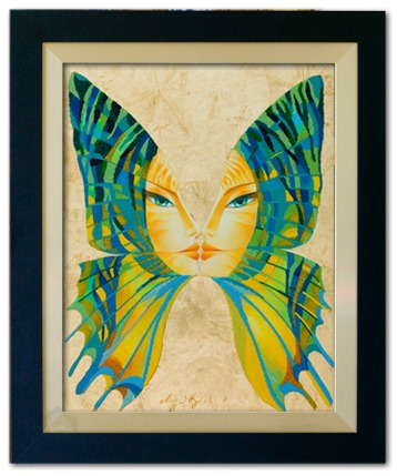 """Sunset Butterfly Kiss"", 24""x30"" (plus frame), acrylic on canvas with gold leaf and glass bead mosaic"