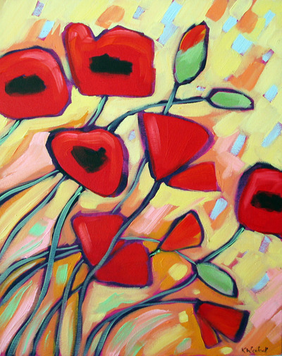 wild poppies, oil on canvas.  ©2011 Kristina Wentzell