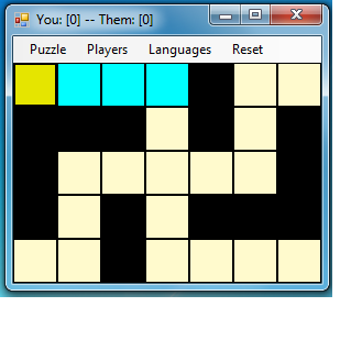 Selecting the first square. See the yellow square.