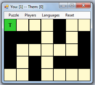 Grid after inserting 'T' in top left square.