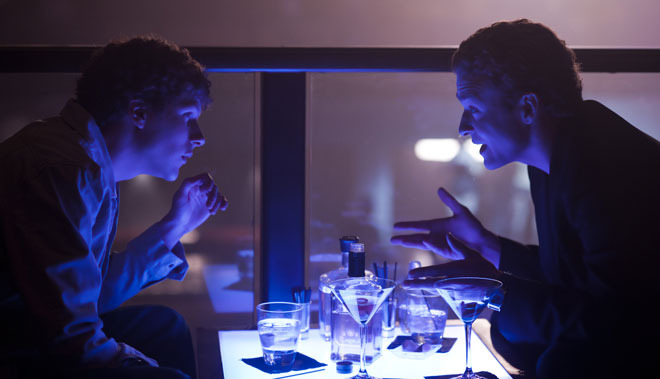 Justin Timberlake & Jesse Eisenberg pitter patter in a nightclub in the film, The Social Network