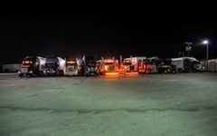 Truckstop parking lots.