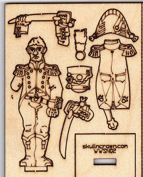 Napoleonic foot officer laser-etched sprue.