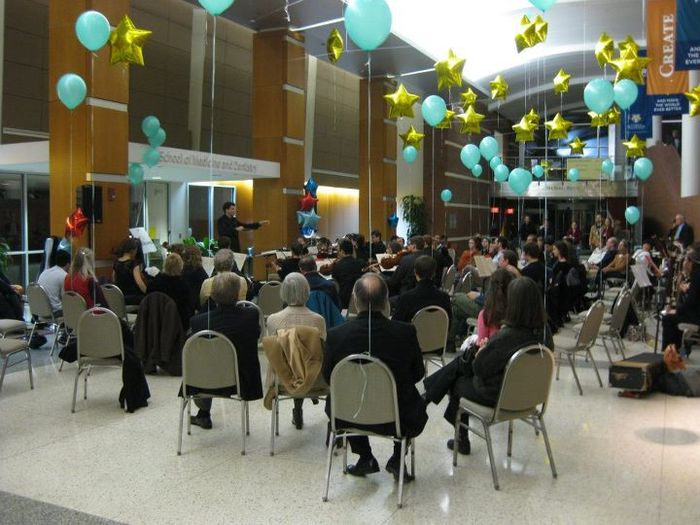 Orchestra performs at a medical school