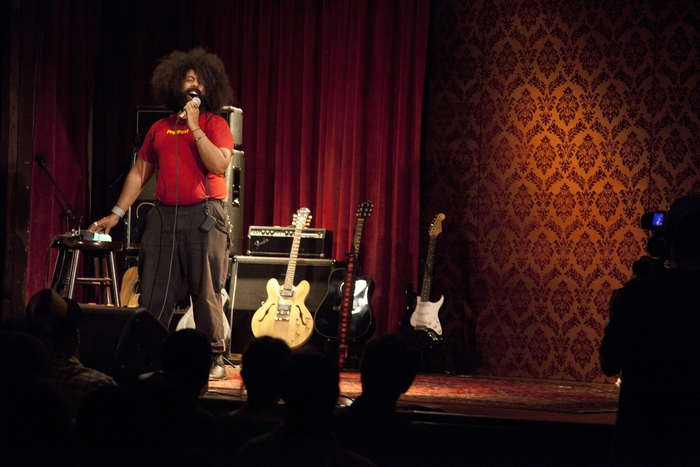 Reggie Watts working his Reggie magic, from the film