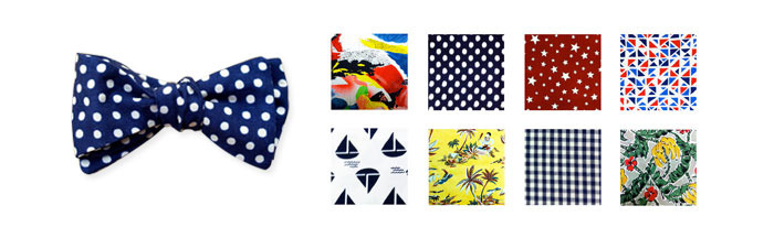 [From top left: 80's, Dots, Stars, Traingles, Boats, Tiki, Gingham, Bananas.]