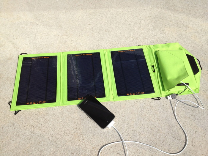 Foldable Solar Charger for your phone. Folds up to be about the size of a tablet.