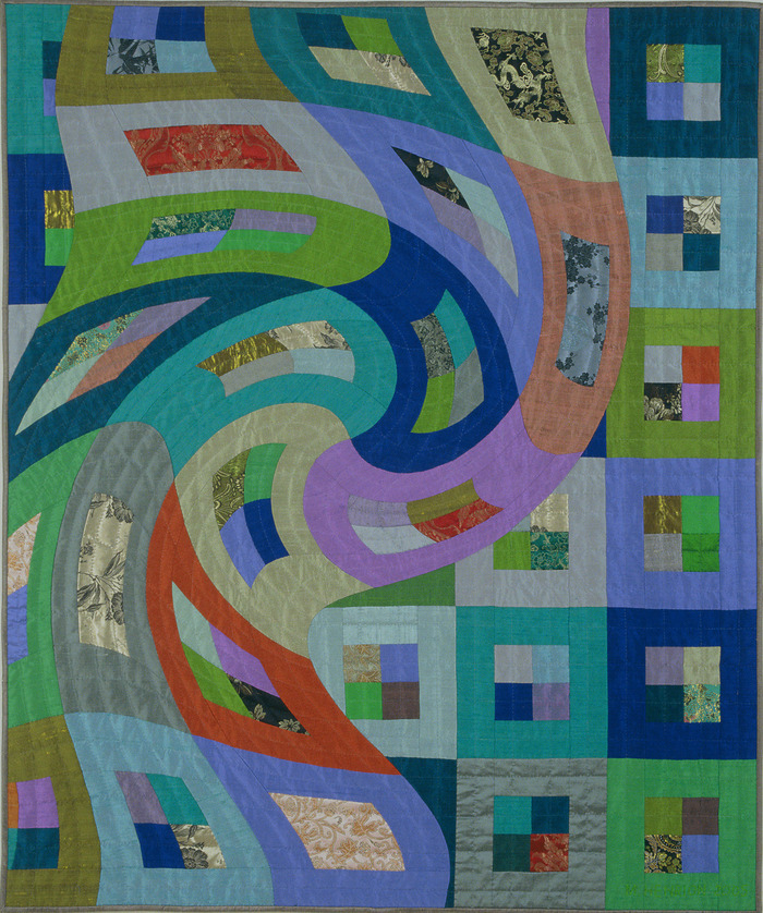 "Disturbances 6    48""x40""    pieced silks, hand quilted.... $3,600 pledge"