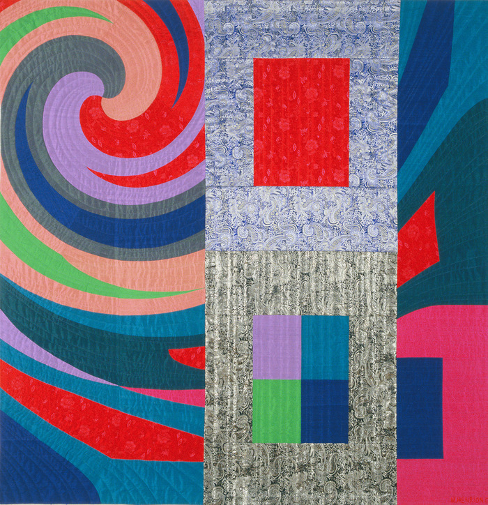 "Disturbances 7    66""x65""    pieced silks, hand quilted ...$7,600 pledge"