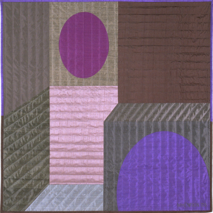 "Innerspace 7    40""x40""    pieced silks, hand quilted....$2,600 pledge"