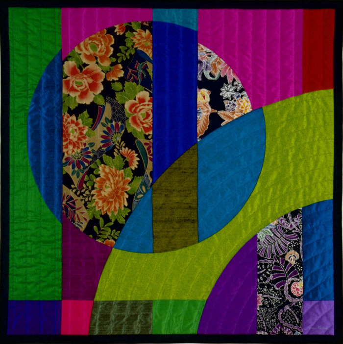 "Etude #3    38""x38""    pieced silks, cottons, hand quilted....$2,100 pledge"