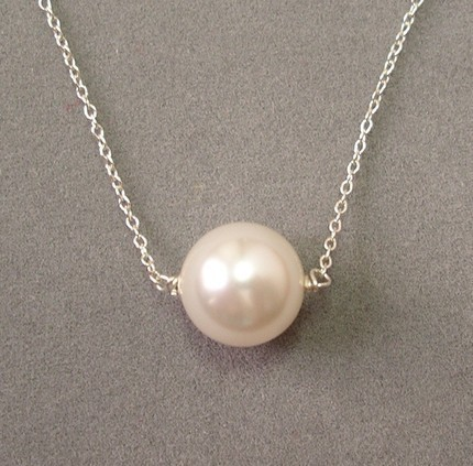 "$25+ donation: white pearl necklace on 16"" sterling silver chain"