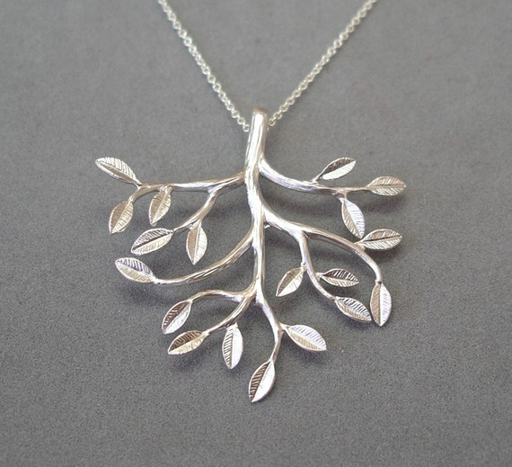 "$50+ donation: silver-dipped tree pendant on 16"" sterling silver chain"