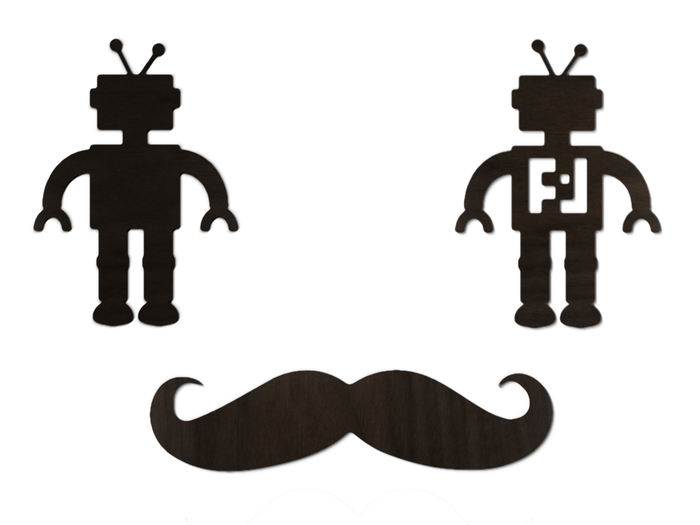 Pictured: $10 pledges can choose between a real wood robot or mustache decal.